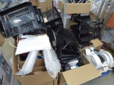 Pallet containing small heaters, Christmas lights, file trays and various other office accessories