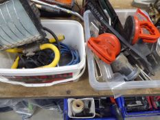 Two plastic boxes containing lead light, mini compressor, pullers and various other tools