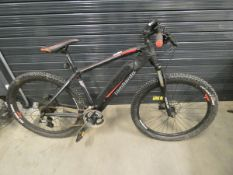 Lombardo black and red electric mountain bike with battery, no charger