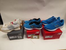 3 pairs of New Balance trainers, 2 in size 8 and one size 11