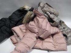 3 various ladies hooded jackets by Andrew Marc in sizes ranging from M - L, 1 in black, 1 in pink