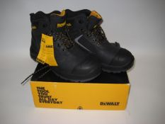 Boxed pair of DeWalt Works safety boots with steel toe cap in black, size 9