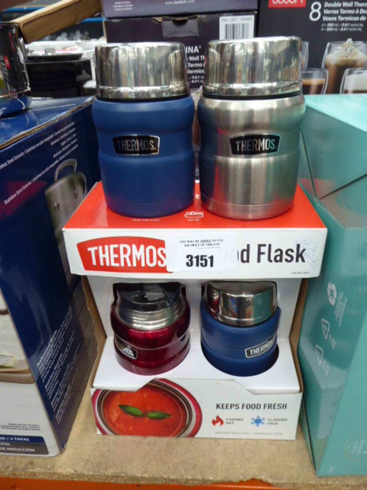 4 Thermos food containers plus stemless wine glasses