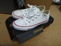 Boxed pair of ladies Converse trainers in white, size 3