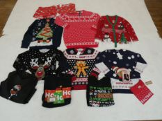 Selection of Christmas clothing to include pyjamas, tops, jumpers & socks in various sizes