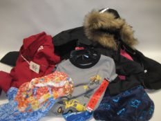3 children's coats with small quantity of children's clothing incl. night wear and girl's