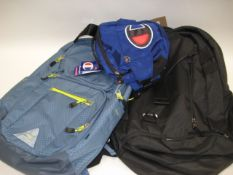 2 rucksacks, 1 by High Sierra and 1 by Under Armour with small bum bag by Champion