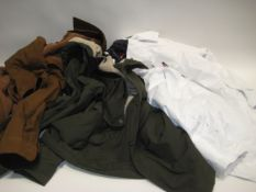 3 various coats, 1 green hooded coat by Levi (size M), brown jacket by Jackson New York (size L)