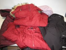 5 various ladies coats, some quilted by 32 Degree Heat, 1 by DKNY, Heritage 63 and Weatherproof (