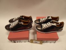 2 pairs of Moda in Pelle Esitti leather trainers sizes EI 40 and 37