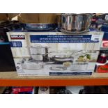 Boxed Kirkland Clad stainless steel cookware set