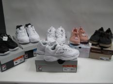 4 boxed Fila shoes and 2 boxed Skecher shoes in various styles, sizes and colours