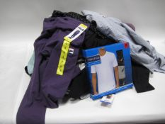 Bag containing ladies and gents mixed clothing incl. ladies leggings, ladies lounge wear, gents