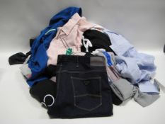 Bag of mainly gents clothing incl. crew clothing, Pebble Beach top, Calvin Klein lounge wear and 1