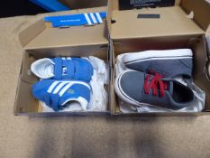 2 boxed pairs of kids shoes: toddler shoes size 4 and Adidas Blue Dragon toddler trainers size 5