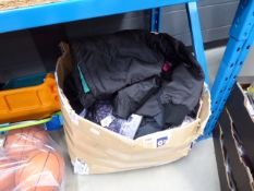 Large box of mixed mens and womens clothing including Diesel jacket, tops, t-shirts, etc
