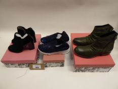 3 pairs of Moda in Pelle shoes to include Kailey ankle boots sized EU 37, Beani trainers size EU