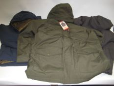 3 gents hooded coats, 1 by Levi (tagged), 1 by Weatherproof, other by Gerry