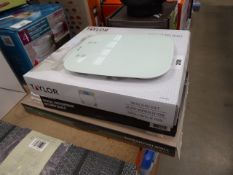 2 boxed Taylor digital kitchen scales plus one unboxed and a Eurocast grill pan