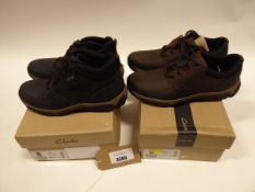 2 pairs of Clarks shoes to include Walbeck Edge walking shoes size 8.5 and Walbeck Top II walking