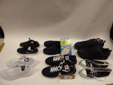 Bag of assorted shoes to include trainers, loafers and footwear accessories