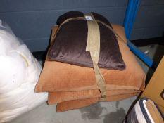 2wks 3081 Quantity of cushions, 3 in light brown, 1 in dark brown