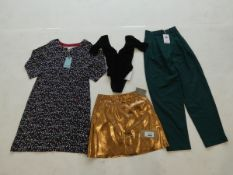 Selection of ladies clothing to include Weird Fish dress size 12, Stockholm Atelier trousers size 4,