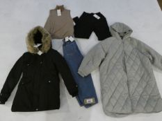 Selection of Zara clothing to include 2 coats, trousers, jeans and jumper sizes small and medium