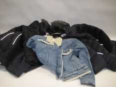 4 various children's coats, 3 quilted and hooded by Harvey & Jones, 1 jean jacket with faux