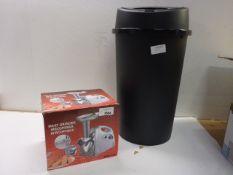 Meat grinder and large plastic bin