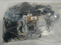 Bag containing various leads, cables and PSUs