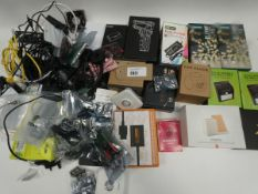 Bag containing various electrical related devices/accessories; headset, converters, Raspberry Pi,
