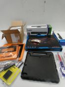 Bag containing Sims 3 PC games, Xbox 360 Kinect sensor, gaming laptop cooler, tablet cases etc