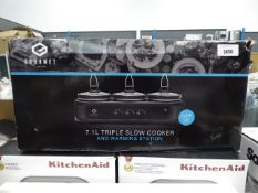 (TN47) Boxed Gourmet 7.1 litre triple slow cooker and warming station Condition report: Box seal