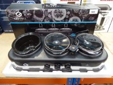 (TN48) Boxed Gourmet 7.1 litre triple slow cooker and warming station (missing bowl) Condition