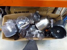 Large box containing various kitchen items to include Multi Braun Quick hand whiskers, other