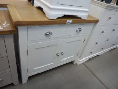 Cream painted oak top sideboard with 2 drawers and 2 cupboards (41) Height: 85cm x Width: 100cm x