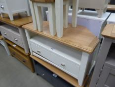 White painted oak top large TV audio unit with shelf and drawer under (19)
