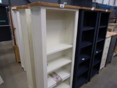 Cream painted open front bookcase with drawer (33)