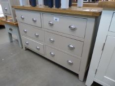 Grey painted oak top sideboard with 3 pairs of drawers (13)