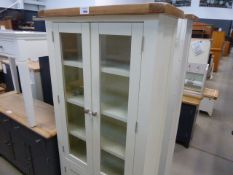 Cream painted oak top cabinet with 2 glass doors above 2 cupboards (24)
