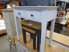 Blue painted hall table with 2 drawers (30)
