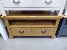 Large oak corner TV audio unit with shelf and drawer (15)