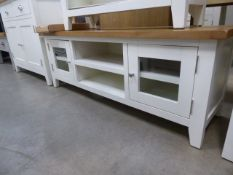 White painted oak top low level TV audio unit with 2 shelves and 2 glazed cabinets (4)