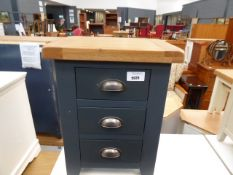 Blue painted oak top bedside unit with 3 drawers