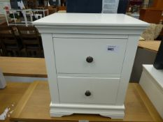 White painted bedside unit with 2 drawers (3)
