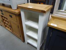 White painted oak top narrow 3 shelf bookcase (35)