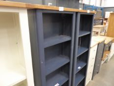 Blue painted tall narrow open front bookcase (28)