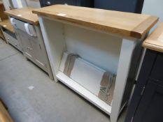 Cream painted oak top open front bookcase