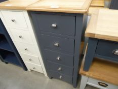 Blue painted oak top narrow chest of 5 drawers (3)